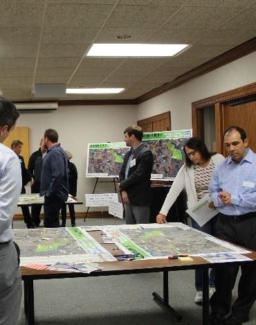 Public viewing maps at the Northwest Huntersville Transportation Study Open House #2