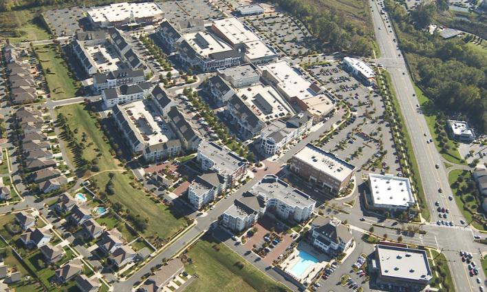 Figure CD-5 - Aerial Photo of Birkdale Village Illustrating Mixed Uses, Buildings Addressing the Str