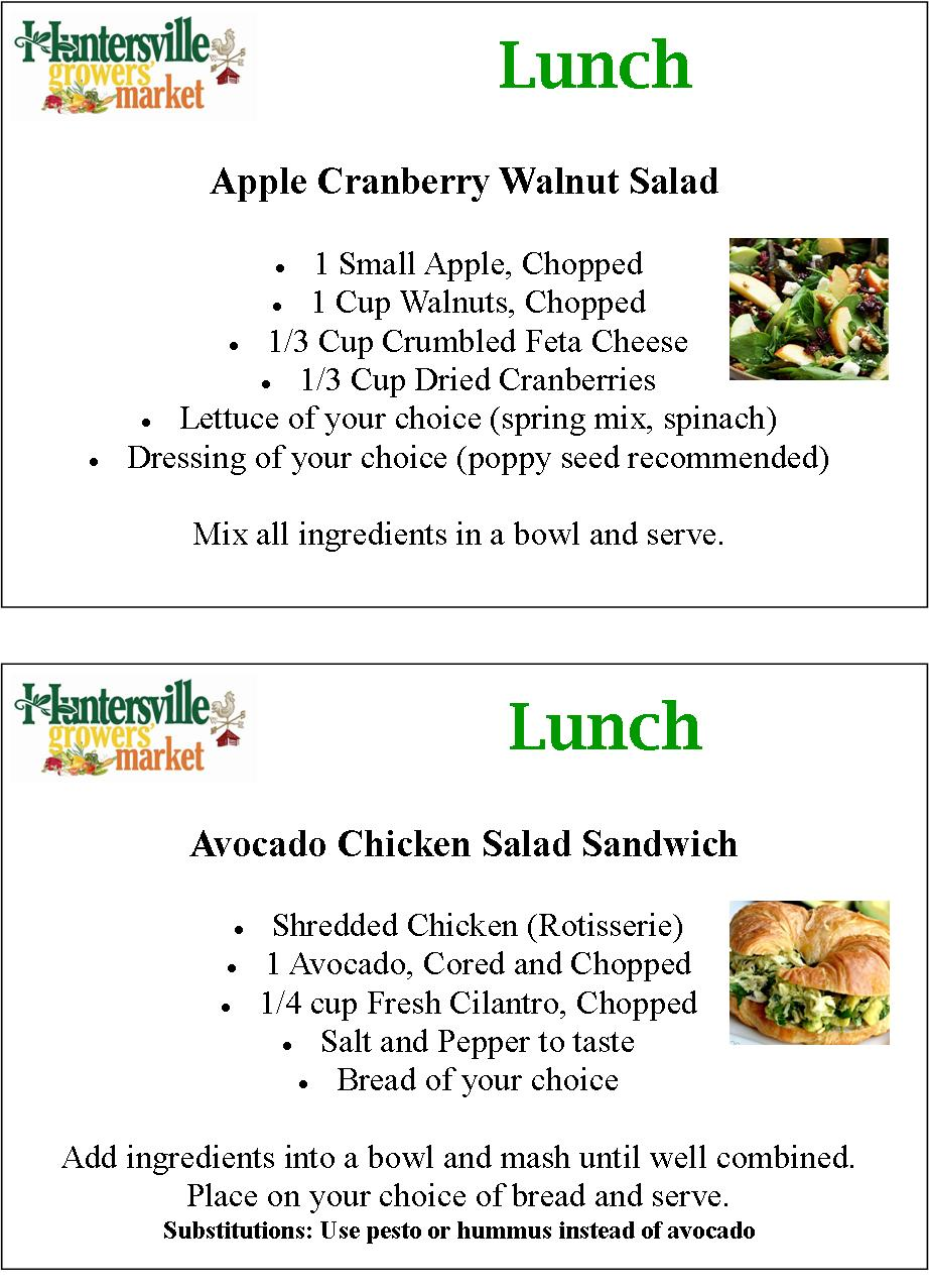 Detailed apple cranberry walnut salad and avocado chicken salad sandwich recipes