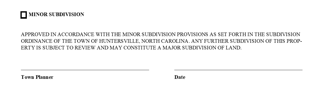 Minor Subdivision